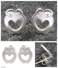 Sterling silver earrings - Love Answers All | NOVICA