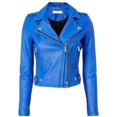 IRO Women's Dylan Blue Leather Moto Jacket (74.775 RUB) via Polyvore featuring outerwear, jackets, blue, zip jacket, genuine leather jackets, zipper leather jacket, blue jackets и genuine leather biker jacket