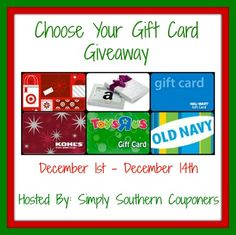 Choose Your Gift Card Giveaway – Ends December 14 2013