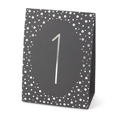 Polka Dot - Table Number Tents (1-40) - Silver (shown). Also available in gold foil on black. Quaint Wedding Stationery.
