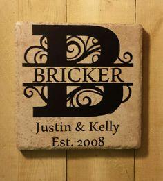 """6"""" """" x 6"""" Split Letter Established Date Ceramic Tile - Kelly Belly Boo-tique"""