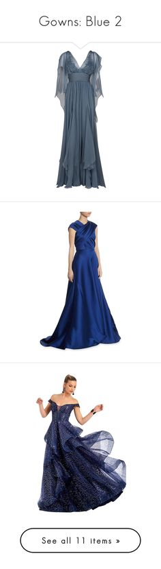"""Gowns: Blue 2"" by franceseattle ❤ liked on Polyvore featuring dresses, gowns, vestidos, long dresses, women, wrap dress, beaded evening gowns, sequined dress, blue wrap dress and gown"