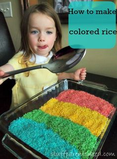 How to make colored rice or rainbow rice. Super easy and SO much fun!