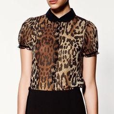 Блузка с анимальным принтом Zara