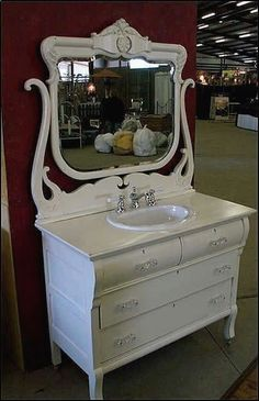 bathroom vanity from old dresser | images of antique bathroom vanity shabby chic white dresser with sink ...