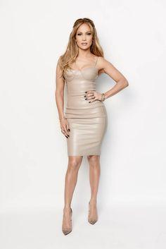 Jennifer Lopez's American Idol House of CB Lana Taupe Stretch Leatherette Bustier Dress