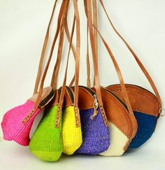 knitted bag • leather strap