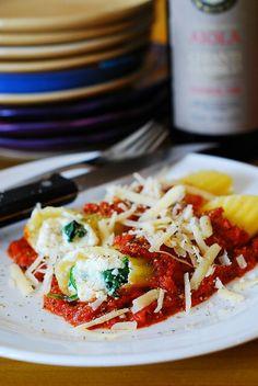 Ricotta & Spinach Stuffed Manicotti Shells in Marinara Sauce