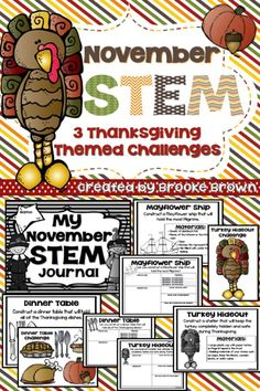 Build a Mayflower ship, Dinner Table, and Turkey Hideout! November and Thanksgiving STEM Challenges for Elementary Students! | STEM Activities | STEM Projects