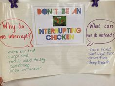 In kindergarten we are continuing to work on appropriately using our voices, see My Mouth is a Volcano post , and not interrupting when o. Kindergarten Anchor Charts, Kindergarten Lessons, Classroom Management Strategies, Behaviour Management, Student Teaching, Teaching Kids, Interrupting Chicken, Preschool Social Skills, Library Skills