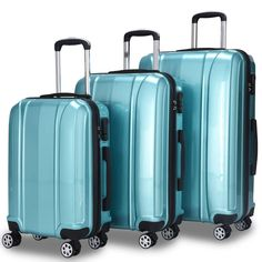 Enjoy exclusive for Goplus Luggage Set, Hardside Travel Suitcase, 20 24 28 ABS + PC Travel Trolley Case w/Coded Lock, Lightweight Suitcase (Light Blue) online - Nicetopfavor Carry On Luggage, Travel Luggage, Travel Bags, Luggage Packing, 3 Piece Luggage Set, Luggage Sets, Travel Must Haves, Travel Set, Kit Dopp
