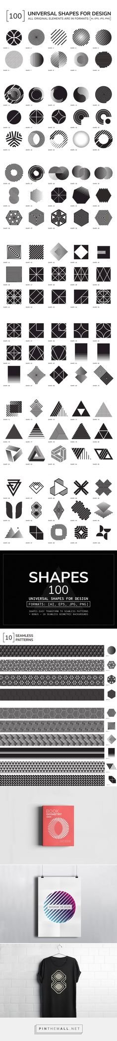100 Geometric Shapes Part 1 - Graphics - YouWorkForThem - Designed by Vanzyst - This product download contains 110 files. Set of 100 individual geometric shapes for your the best projects + BONUS 10 seamless patterns. All objects easy transform to seamless patterns. Universal vector geometric elements in black color is suitable for logo design, business cards, brand books, photography, posters, postcards, patterns etc. (affiliate)