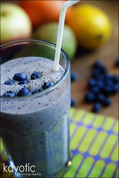 Breakfast Smoothie - Replace yogurt with almonds and use almond milk instead of cow's milk. Looks delish!
