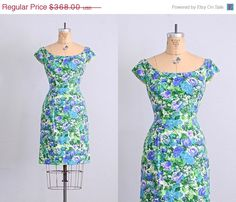 vintage 1950s dress  Mr Blackwell  floral print  by PickledVintage