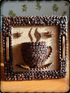 Risultati immagini per manualidades con cafe Diy Home Crafts, Diy Arts And Crafts, Fun Crafts, Crafts For Kids, Paper Crafts, Diy Para A Casa, Coffee Bean Art, Coffee Beans, Seed Art