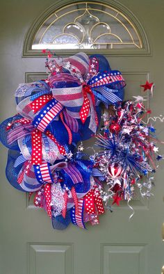 Patriotic fourth of July wreath by WreathExplosions on Etsy, $85.00