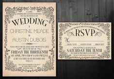 Vintage Wedding Invitation Set - Printable via Etsy. Suits my intended theme so much