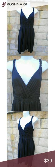 "Ella Moss Rayon Tank Dress w/ Braided Straps, M Sweet and sexy Ella Moss black, silky smooth, thick rayon tank dress. Plunging v-neck and v-back. Braided shoulder straps . Gorgeous tapered hemline. Size: Medium.  Excellent condition. I never wore it, not once. It's been hiding in my closet and it's a shame!  Knee length on me. I'm 5'9.  Measures 39"" top to bottom. 17 1/2"" armpit to armpit. 15"" top of shoulder strap to bottom of v-neck.  Retail $188.00. Ella Moss Dresses"