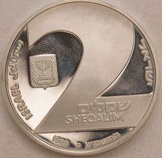 Numismática ISRAEL 1983 2 Sheqalim moeda de prata PRO..
