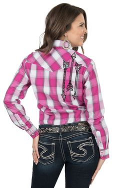 Cowgirl Hardware Women's Pink Plaid with Arrow Embroidery Long Sleeve Western Shirt | Cavender's