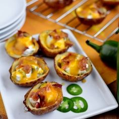 Roasted Jalapeno Popper Potato Skins are creamy, spicy, and crunchy. A must-have for the Super Bowl!