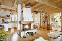 Chalet kitchen is usually identical with wood material and heavy roof design. As the characteristic of the chalet, the presence of wood will retain Home Furnace, Wooden Cottage, Wooden House, Cottage Interiors, Design Case, Room Colors, Living Room Interior, Home Fashion, Living Room Designs