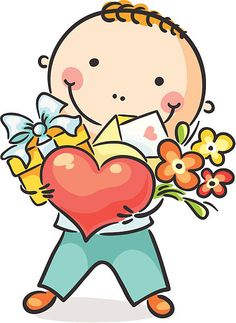 Illustration about A boy with a heart, flowers and present. Illustration of happy, present, drawing - 44607141 Cartoon Cartoon, Cartoon Drawings, Cute Drawings, Animal Drawings, Cute Images, Cute Pictures, Drawing For Kids, Art For Kids, Mothers Day Crafts For Kids