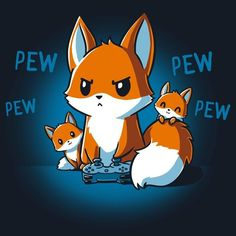Get the navy Pew Pew Parent t-shirt only at TeeTurtle! Pet Anime, Anime Animals, Cute Animals, Cute Animal Drawings, Kawaii Drawings, Cute Drawings, Cute Fox Drawing, Chibi, Nerdy Shirts
