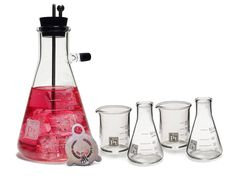 A Handsomely Designed Erlenmeyer Vacuum Flask Cocktail Shaker Set Made From Scientifically Tempered Glass