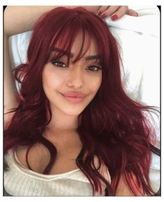 Dyed Red Hair, Dye My Hair, Red Hair With Bangs, Red Hair Fringe, Red Hair Girls, Red Hair Looks, Red Hair Inspo, Red Hair Inspiration, Pelo Color Vino