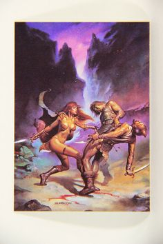 L010256 Boris Vallejo 1991 Card / Red Amazon - 1982 - Card #59 / ARTWORK