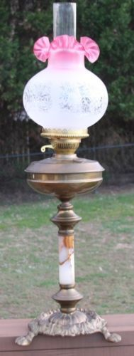 Victorian Antique English Brass Marble Cranberry Etched Oil Lamp Shade 2 Vtg | eBay