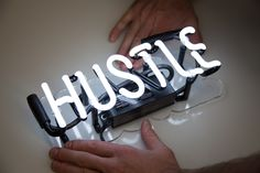 Super cute little Hustle neon sign designed to fit perfectly in your home.