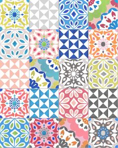 Eclectic tile print by Elephant & Rose