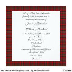 Red Tartan Wedding Invitation with Scottie Dogs 13 Cm X 13 Cm Square Invitation Card