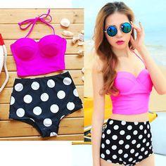 New-style-Retro-Vintage-Pin-Up-High-Waist-Bikini-PINK-Sets-Sexy-Swimwear-S-XL