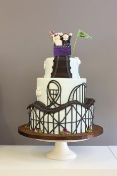 """Roller Coaster of Love"" Cake Cupcakes, Cupcake Cakes, Roller Coaster Cake, Beautiful Cakes, Amazing Cakes, Themed Wedding Cakes, Cake Gallery, Holiday Cakes, Love Cake"