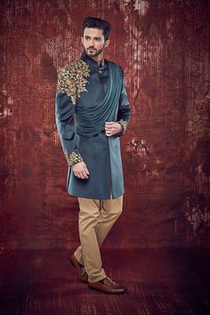 Velvet Indowestern Sherwani embellished with heavy zari and sequins work on shoulder and sleeves, styled with de- attachable shawl Sherwani For Men Wedding, Wedding Dresses Men Indian, Mens Sherwani, Kurta Men, Indian Wedding Wear, Wedding Dress Men, Wedding Men, Sherwani Groom, Wedding Suits