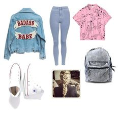 """Oldschool Style"" by michelle-jovanovic ❤ liked on Polyvore featuring Topshop and Converse"