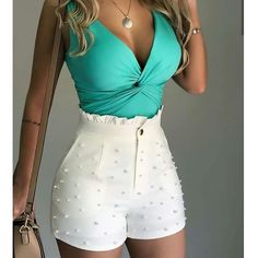 Sum All Chic, Shop White Patchwork Studded Ruffle High Waisted Fashion Shorts Pant online. Frill Shorts, High Waisted Shorts, Casual Shorts, Short Outfits, Summer Outfits, Short Dresses, Cute Outfits, Casual Outfits, Mode Shorts