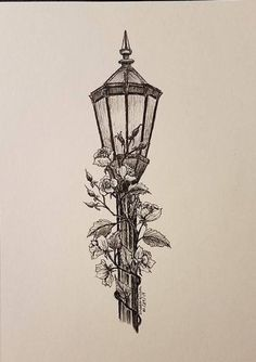 art desenho Lamp post Original 5 x 7 Ink drawing Pencil Art Drawings, Art Drawings Sketches, Cool Drawings, Sketch Art, Creative Pencil Drawings, Creative Drawing Ideas, Pencil Drawings Of Flowers, Plant Drawing, Painting & Drawing