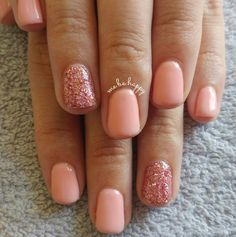 Crazy Salmon Logik gel overlay and self mixed rose gold glitter accent nail.
