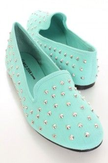 Mint Canvas Fabric Spike Studded Loafer Flats
