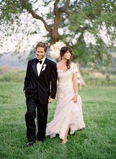 bride and groom | all white, romantic outdoor wedding | photo: Jose Villa
