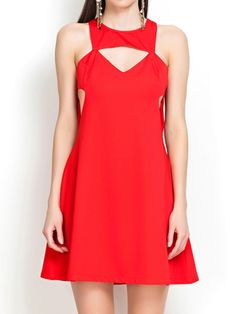 Red A-Line Dress with Cut Out Detail | Choies