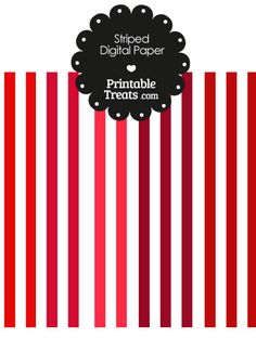 Red and White Vertical Striped Digital Scrapbook Paper from PrintableTreats.com