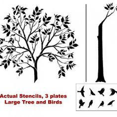 Large Tree and Birds Stencils - Reusable Stencils for DIY Decor