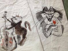 Drinking cat free machine embroidery design