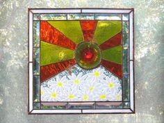 Daisies Stained Glass Window Panel Yellow by FleetingStillness, $195.00