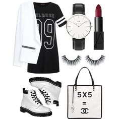 Untitled #23 by sarahmcmurryy on Polyvore featuring polyvore, fashion, style, Ally Fashion, MANGO, Dr. Martens, Chanel, Daniel Wellington and NARS Cosmetics
